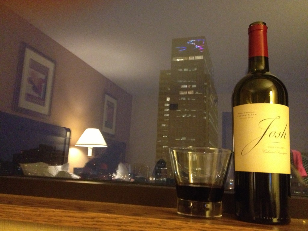 ended the night with a wine named after my husband watching lights on the building next door